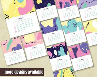 2018 Printable Wall Calendar Instant Download Housewarming Calendar Printable Office Calendar Geometric Design Printable Monthly Calendar