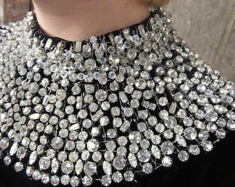 On Sale 1960s Black Velvet Dress/ Black Gown / Rhinestone Neckline/ Hollywood Glam/ 741