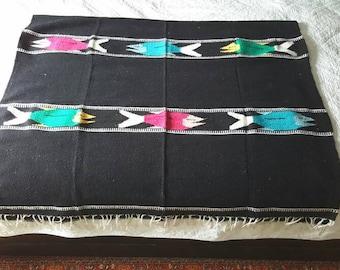 "Mexican Fish Blanket / black Southwestern / 1980s / 78"" x 46"" / saddle throw"