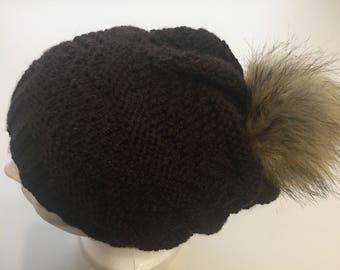 HandKnit brown Slouchy Beanie Stocking Cap faux fur snap pompom