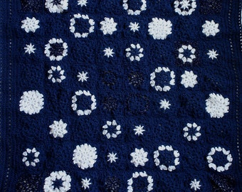 Baby Blanket Crochet- 64 Granny Squares- Starry Night- Crocheted- Navy Blue- White Star Motif- Boy or Girl-Made To Order