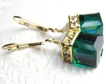 Emerald Crystal Earrings, Dark Green Emerald Swarovski Crystal Cube, Gold Filled, Drop Bridesmaid Wedding Jewelry, May Birthstone Birthday