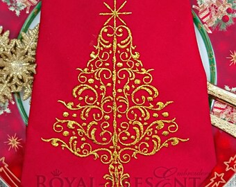 Machine Embroidery Design Elegant Red Christmas Tree - 3 sizes