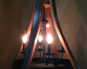 Dulcinea, recycled wine barrel oak staves and metal hoop pendant light, ceiling light, 4 lights