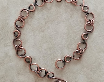 Handmade Scroll Bracelet in Oxidized Copper