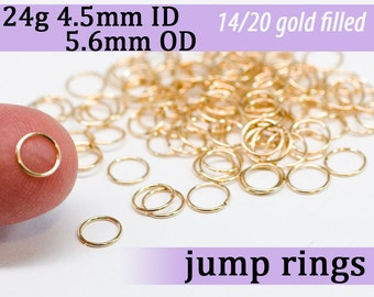 24g 4.5mm ID 5.6mm OD gold filled jump rings -- goldfill jumprings 14k goldfilled