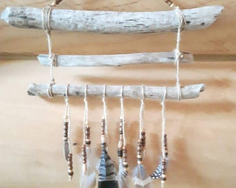 Wood Driftwood dream catcher, Native American wall decor, Bohemian Style,
