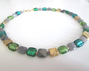 Necklace labradorite/Silver foil glass beads/gilded silver squares