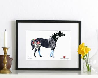 Collage P16 - Horse / limited ArtPrint, signed and numbered, in passepartout ready for frame and wall. Home Decor, art print wall