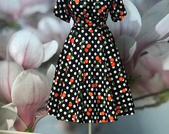Cherry and Dots dress, Off shoulder, Spanish, Floral, Black dress, Cherries, Polkadot