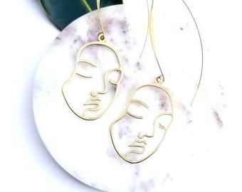 Gold face earrings//Gold art deco drop earrings//Sculptural drop earrings//modern brass earrings//Abstract earrings