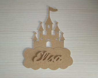 Door plaque castle with name up to 6 letters mdf wood
