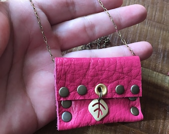 Hot Pink Leather Jewelry - Recycled Leather-Talisman Pouch Necklace - Amulet Bag Necklace - Medicine pouch - Lucky Crystal pouch