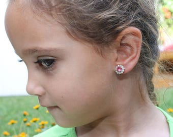 Pink Flower Girl Clip On Earrings Swarovski Crystal White Opal Toddler Gift Pink Clip On Toddler Earring Non Pierced Ears,Silver,Rose,SE116