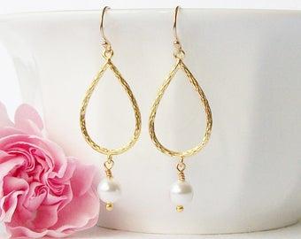 White Pearl Dangle Earrings, Bridesmaid Jewelry, Pearl Dangle Drop Earrings, Bridal Jewelry, Bridal Earrings, PERINI