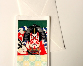 Card and envelope, pattern Japanese traditional UKIYOE KABUKI (F1303)
