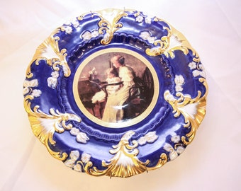 Cobalt Blue & Gold Royal Vienna  Plate Mother and Daughter