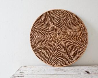 Boho Flower Pot Holder Wicker Trivet Hot Pad Basket Kitchen Decor Bohemian Wicker Wall Hanging Basket Plate