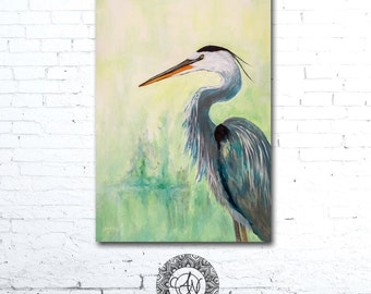 Bird Art Print, Blue Heron Painting, Hand Painted Bird, Bird Picture, Home Decor, Blue Heron Art, Bird Artwork, Wildlife Art, Wildlife Print
