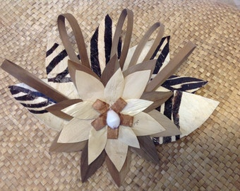 Authentic Tapa Cloth Flower With Lauhala Clip Or Comb. Perfect For Polynesian Dancers, Beach Wedding, Bridesmaid, Luau, Gifts, Costume, Gift