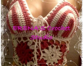 Crochet Festival Halter Top in size B to C.