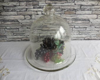 Vintage glass dome and base French