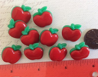 SET of 10 Shank Juicy Red Apple Sewing Buttons/Seqwing buttons/Kniting buttons/Shank Buttons/Hoop buttons/DIY/Embellishments/Trim