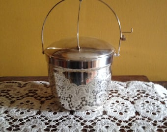 Vintage Crescent SilverPlated Insulated Hinged Handle Ice Bucket