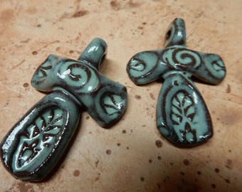 Cross pendant made of stoneware clay with a sugar mint green gloss glaze…primitive, rustic,  #5315
