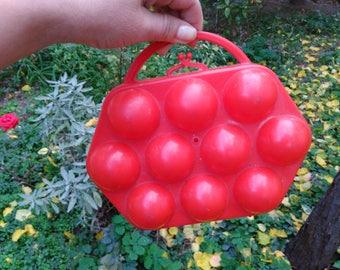 Vintage Egg Box / Retro Egg Container / Egg Holder Box / Red Egg Basket / Egg Holder / Plastic Egg Holder / Egg Storage / Hard Plastic