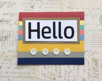 Hello Card - Just Because Cards, Thinking of You Cards, Handmade Greeting Cards, Custom Hello Cards, Hello Card Box Set, Hello Card Set