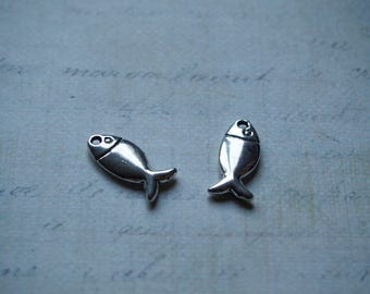 2 charms fish sterling silver 17, 5 x 8, 5mm