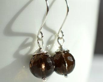Smoky Quartz Earrings, Sterling Wire Wrapped Earrings, Dark Brown Earrings, Brown Gemstone Earrings, Neutral Earrings, Faceted Gemstone Bead