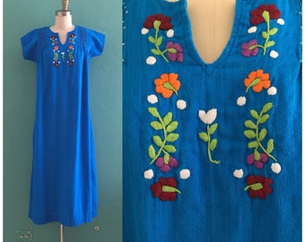 vintage 70's blue cotton kaftan // embroidered lounge dress // muu muu