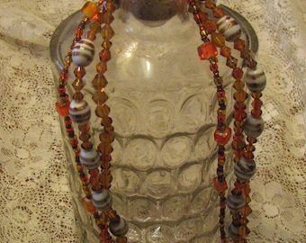 Fall triple-strand beaded necklace