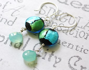 Blue and Green Murano Glass Earrings  Sea Foam Sterling Silver Earrings  Murano Glass and Gemstone Earrings  Aqua Chalcedony Drop Earrings