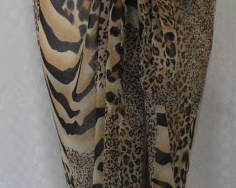 Sarong, Chic animal skin print sarong, Beach cover up, Oversized scarf, Shawl, Beach wrap, Fashion accessories
