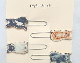 Set of 4 large pet lover paper clips bookmark