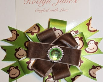 "Monkey Hair Bow, Girl's Hair Bow, Fun Hair Bow, 5"" Hair Bow"