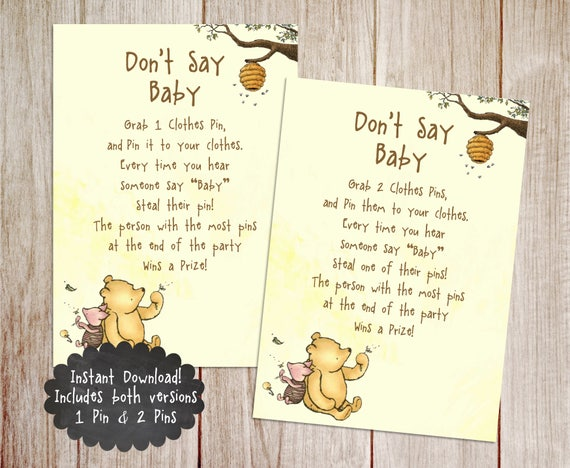 Dont Say Baby Baby Shower Game Printable Winnie The Pooh