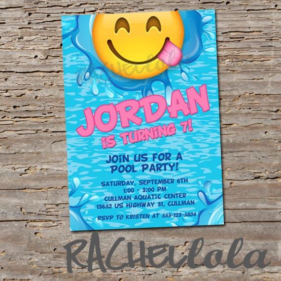 Emoji Pool party Birthday invitation Printable template