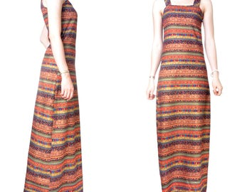 Cotton print Office evening long dress (M48)