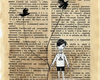 Little Boy Walking his Black Birds - Victorian Child, Black and White, Dictionary page, Crows, print 5x7