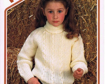 Boy's and Girl's Child's Polo Neck Aran Sweater Pullover Jumper - Size 56 to 76 cm (22 to 30 inch) - Wendy 2312 - Vintage Knitting Pattern
