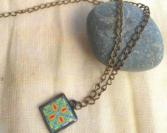 Catalina Brick Red Turquoise Tile Design Spanish, Mexican, Catalina Island Tile, Inspired Antiqued Gold Plated Brass Chain Wanderluster