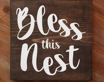 Bless this Nest   Wood Sign   Stained Wood Sign   Home Decor   Wall Decor   Home