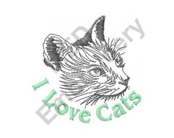 Cat - Machine Embroidery Design, Cats, I Love Cats