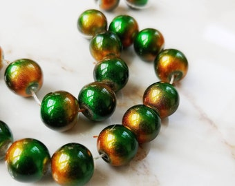 Green and Amber Glass Glitter Beads // 10mm