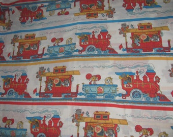 Vintage Get Along Gang Full Flat Sheet/Material - Train Design, Clubhouse Caboose - Retro Fabric