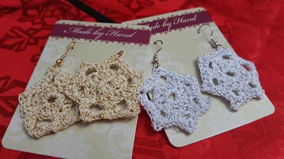 Christmas snowflake earrings, metallic earrings, star earrings, crochet earrings, lightweight earrings, gold earrings, white earrings